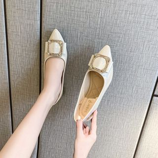 Novice(ノバイス) - Embellished Pointed Faux Leather Flats