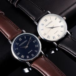 Cronos - Roman Numeral Faux Leather Strap Watch