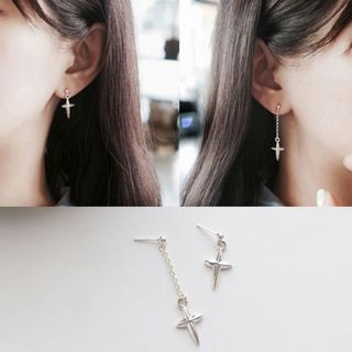 MOMENT OF LOVE - Cross Drop Ear Stud