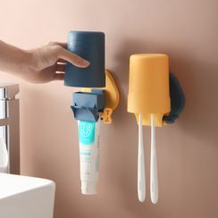 Showroom - Plastic Toothbrush & Cup Adhesive Wall Holder