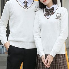 Candy House - Couple Matching Embroidered Cable Knit Sweater
