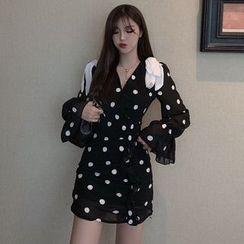 Brooklane - Polka Dot Long-Sleeve Ruffle Mini Chiffon Dress