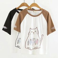 Angel Love - Color Block Cat Embroidered Short-Sleeve T-Shirt