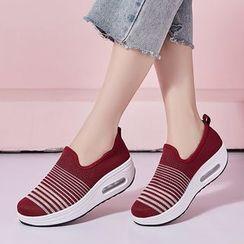 MINIKA - Striped Knit Slip Ons