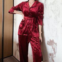 Almilo - 家居服套装: 腰结带丝绒衬衫 + 长裤