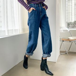 DEEPNY - High-Waist Pintuck-Trim Baggy Jeans