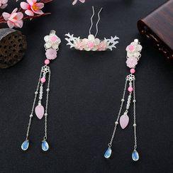 Fenix - Faux Pearl Floral Dangle Haarspange / Haarnadel / Set