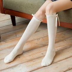 Rivara - Lace-Hem Bow-Detail Over-Knee Socks