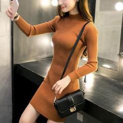 Renara - Mock-Neck Long-Sleeve Rib-Knit Bodycon Dress