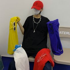 Banash - Elbow-Sleeve Plain T-Shirt
