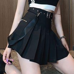 PokkaMoma - Chain Strap Pleated Mini A-Line Skirt