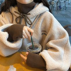 Oolun - 字母刺繡毛毛連帽衫