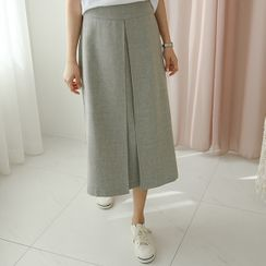 JUSTONE - Pleated Long A-Line Skirt