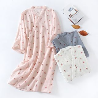 Dogini - Peach Print Pajama Kimono Robe