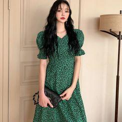 Timfield - Short-Sleeve Leopard Print Midi A-Line Dress