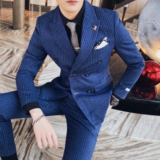 Deepwood - Set: Double-Breasted Striped Blazer + Vest + Dress Pants