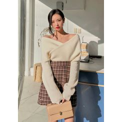 chuu - Off-Shoulder Wrap-Front Ribbed Sweater