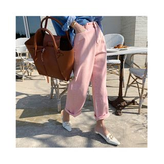 NANING9 - Pastel Color Baggy-Fit Pants