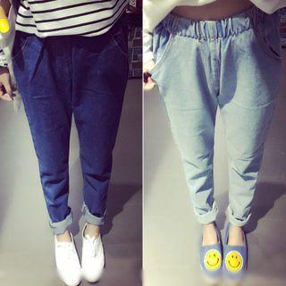 Oaksa - Gather-waist Jeans