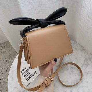 NewTown - Faux Leather Bow Accent Crossbody Bag