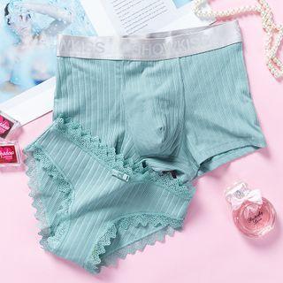 Pancherry - Couple Matching Set: Plain Panties + Boxer Briefs