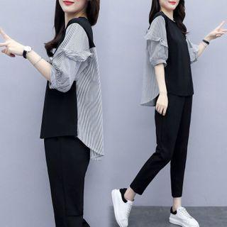 Swanjour - 套装: 条纹拼接中袖衬衫 + 九分哈伦裤