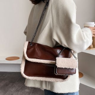 Emvee - Set: Furry Trim Faux Leather Messenger Bag + Pouch
