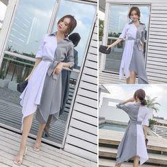 Sienne - Striped Panel Elbow-Sleeve Shirt Dress