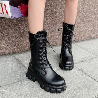 JY Shoes - Faux Leather Lace-Up Platform Short Boots