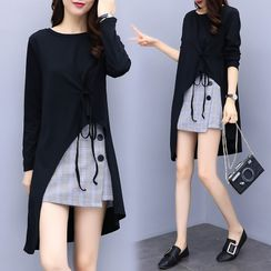 Sugar Town - Set: Long-Sleeve Dip-Back T-Shirt + Plaid Mini A-Line Skirt