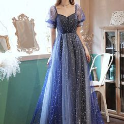Caprice - Puff-Sleeve Star Print A-Line Mesh Evening Gown