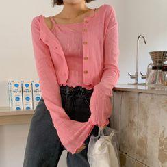 MERONGSHOP - Set: Lettuce-Edge Pointelle-Knit Cardigan + Camisole Top