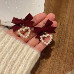 Borscht - 蝴蝶结心心耳坠 / 夹式耳环