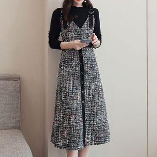 Romantica - Set: Mock-Neck Long-Sleeve Knit Top + Tweed A-Line Suspender Dress