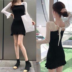 ChilliBlack - Color Block Long-Sleeve Mini Knit Dress