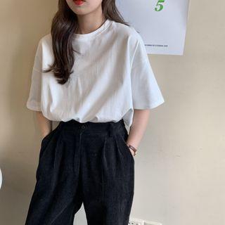 Shinsei - Elbow-Sleeve Plain T-Shirt