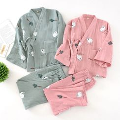 MelMount - 睡衣套裝: 小童兔子印花裹式上衣 + 褲子