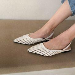 MERONGSHOP - Pointy-Toe Strappy Slingback Flats