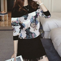 Ashlee - Floral Panel Stretchy Pullover