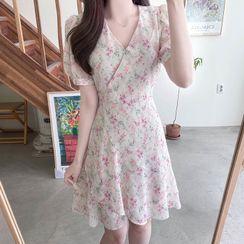 MyFiona - Ruffled Floral Chiffon Wrap Dress