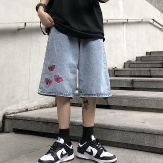 Shineon Studio - Butterfly Embroidered Straight Leg Denim Shorts