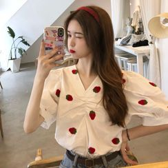 KAKAGA - Puff Sleeve Embroidered V-Neck Top