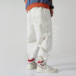 Soulfield - Contrast Stitching Cropped Harem Pants