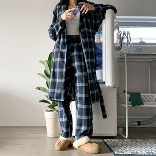 DEEPNY - Lounge Set: Plaid Robe + Pants