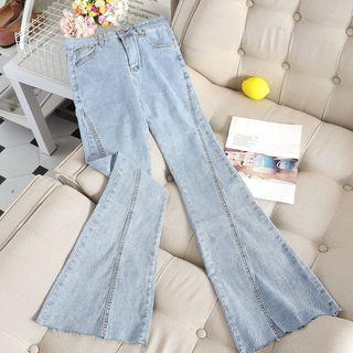 Chitpo - High-Waist Bell-Bottom Jeans
