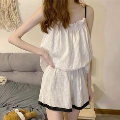 Sisyphi - Set: Frill Trim Pajama Camisole + Shorts