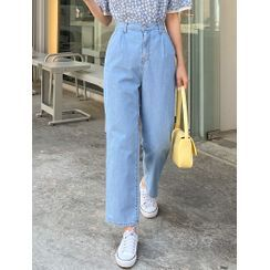 J-ANN - Band-Waist Wide-Leg Jeans