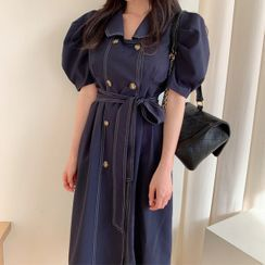 Seoul Fashion(ソウルファッション) - Puff-Sleeve Long Coatdress with Sash