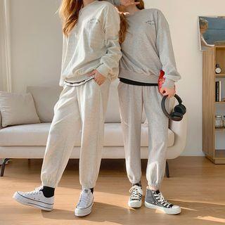 Envy Look - Set: Letter Print Sweatshirt + Band-Waist Jogger Pants