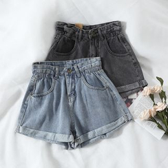 Miss Puff - High Waist Denim Shorts